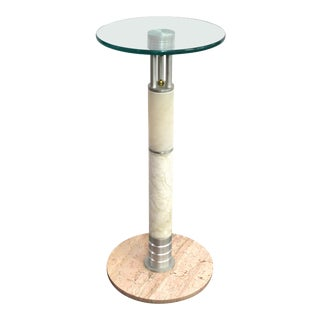 Postmodern Pedestal or Side Table in Metal and Marble with Glass Top For Sale