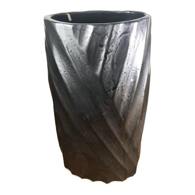 Vintage Black Glazed Hand Carved Ceramic Vessel For Sale
