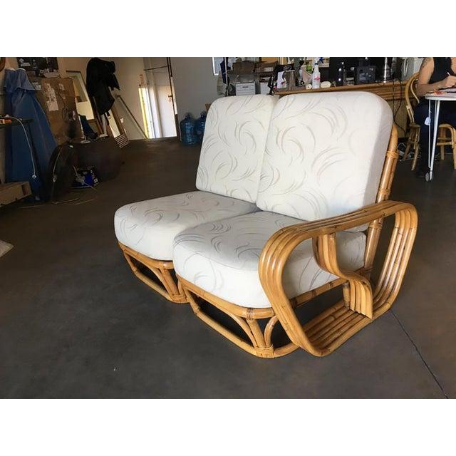 "Paul Frankl Rare Paul Frankl Style Square Pretzel ""S"" Arm Rattan Sofa W/ 2 Tier Table For Sale - Image 4 of 8"