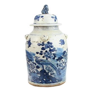 Kenneth Ludwig Chicago Blue & White Bird Ginger Jar For Sale