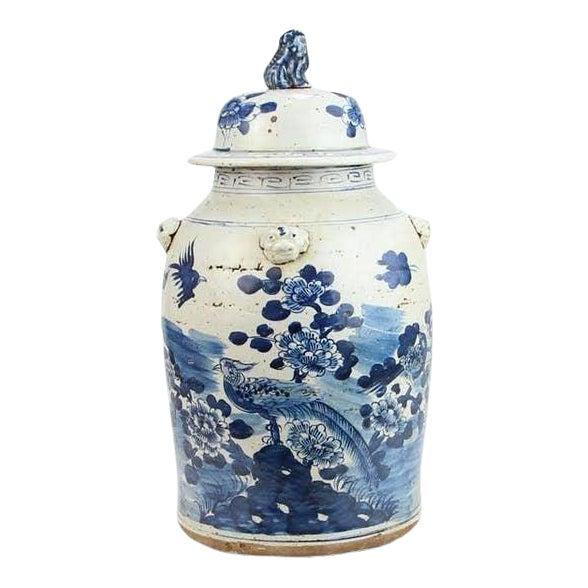 Kenneth Ludwig Chicago Blue & White Bird Ginger Jar For Sale