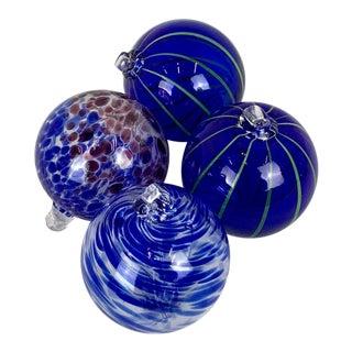 Vintage Blown Cobalt Glass Balls - Set of 4 For Sale