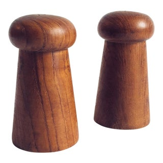 Mid Century Teak Salt and Pepper Shakers For Sale