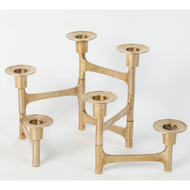 Gold Danish Mid-Century Modern Brass Articulating Candleholder Nagel Style For Sale - Image 8 of 8