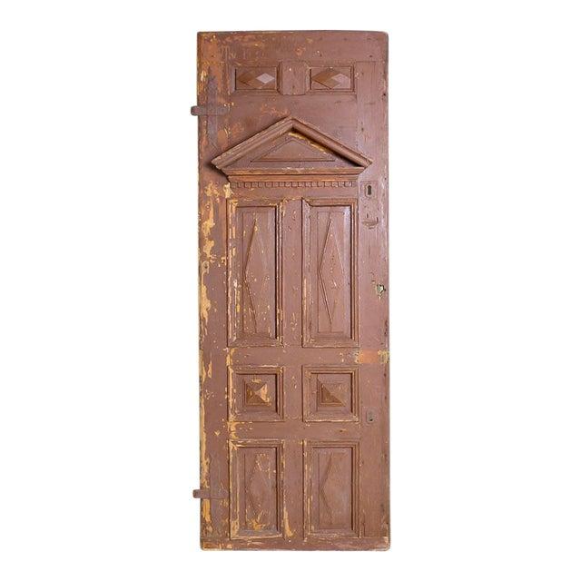 Antique Original Brown Painted Rustic Wood Door For Sale