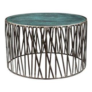 Garrard Criss Cross Metal Coffee Table With Wood Top