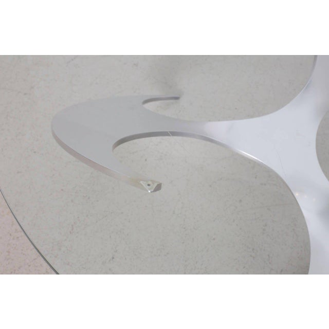 1960s Aluminum and Glass Propeller Coffee Table by Knut Hesterberg for Ronald Schmitt For Sale - Image 5 of 7