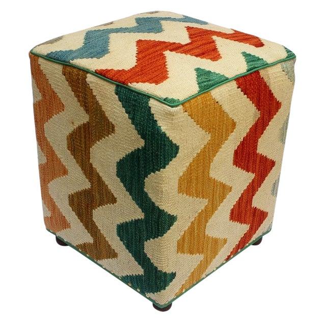 Arshs Corrine Ivory/Rust Kilim Upholstered Handmade Ottoman For Sale