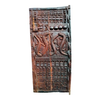 Late 20th Century Vintage Carved African Granary Door For Sale