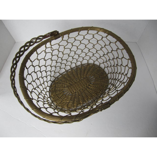 Brass Woven Basket For Sale - Image 5 of 5