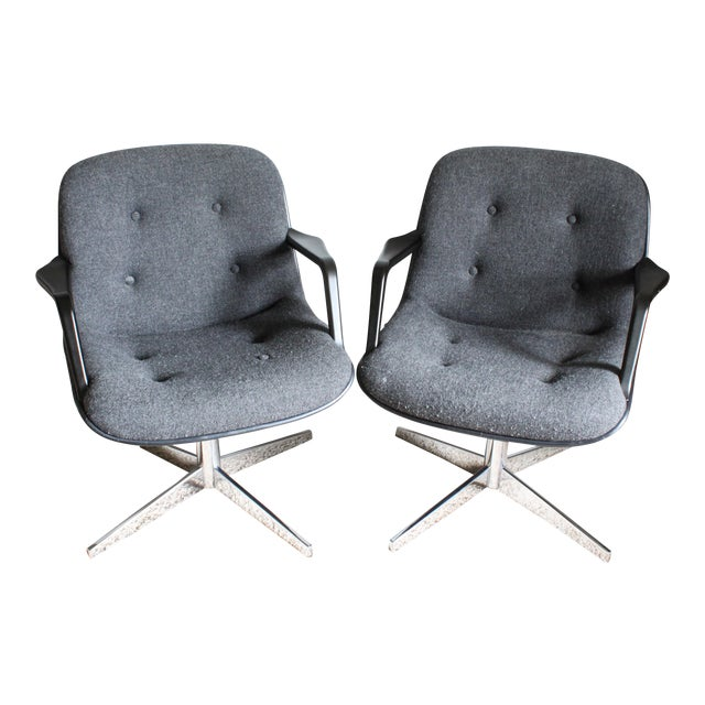 1980s Vintage United Chair Tufted Grey Tweed Pollock Style Chairs- A Pair For Sale