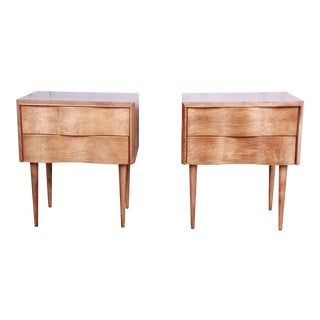 Outstanding Edmond Spence Wave Front Nightstands, Pair For Sale