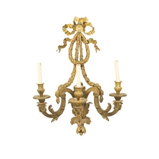 French Louis XVI Bronze Dore Wall Sconce For Sale