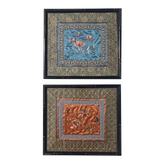 Mid 20th Century Framed Chinese Silk Panels - a Pair For Sale