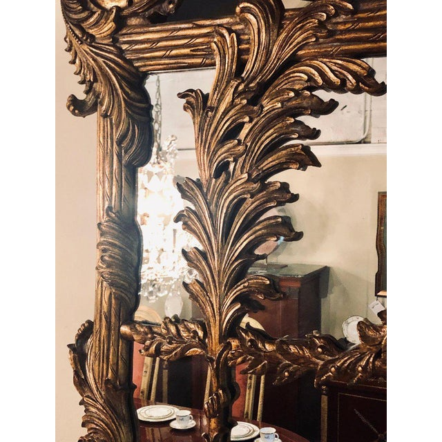 La Barge Italian Style Foliate Giltwood Wall, Console or Over the Mantle Mirror For Sale In New York - Image 6 of 13
