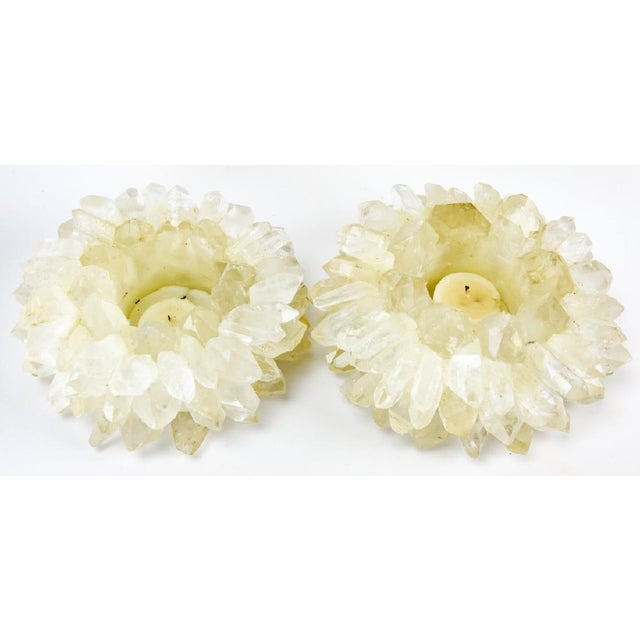 Mid 20th Century Mid 20th Century Handmade Quartz Crystal Candle Holders - a Pair - a Pair For Sale - Image 5 of 5
