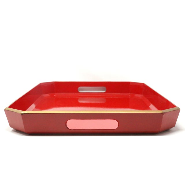 Vintage Japanese Red Lacquered Tray For Sale - Image 4 of 10