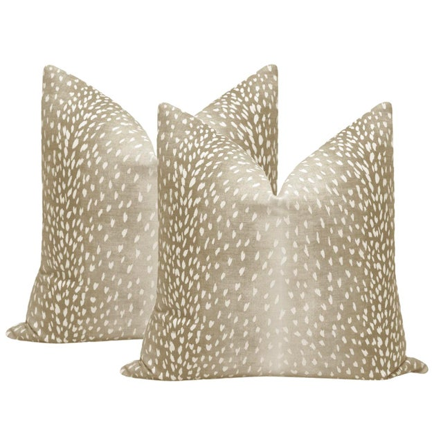 """2010s 22"""" Natural Antelope Linen Print Pillows - a Pair For Sale - Image 5 of 5"""