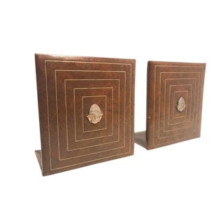 Vintage New York Mid-Century Leather Bookends - a Pair For Sale
