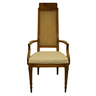 Late 20th Century Weiman Furniture Rockwood Collection Italian Provincial Cane Back Dining Arm Chair For Sale