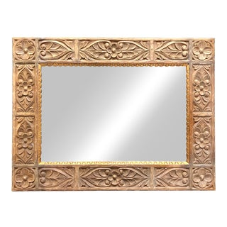 Boho Chic Harrison & Gil Carved Wood Dauphine Wall Mirror For Sale
