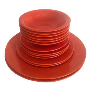 1930s Vintage Art Deco Homer Laughlin Harlequin Fiesta Radioactive Red Orange Dinnerware - 14 Piece Set For Sale