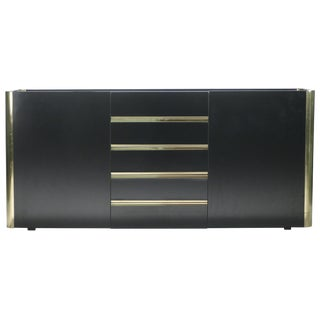 Hollywood Regency Willy Rizzo Brass Black Lacquer Sideboard Commode, 1970s For Sale