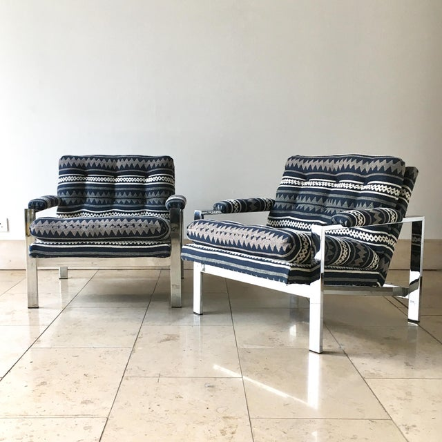 Pair of Chrome Framed Armchairs by Cy Mann 1970s For Sale - Image 9 of 9
