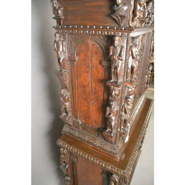 "Antique Heavily Carved Continental Court Two Piece 65"" Cabinet/Cupboard For Sale - Image 10 of 13"