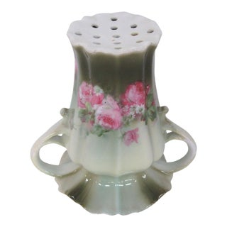 Rs Prussia Style Hand Painted Vintage Hat Pin Holder With Two Handles For Sale