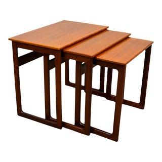 1967 Vintage Danish Teak Nesting Tables by a.k. Odense - Set of 3 For Sale