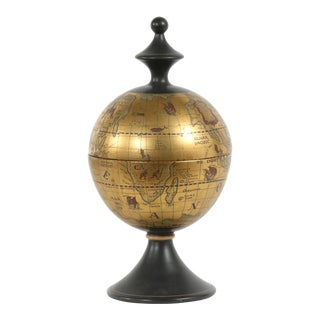 Mid-20th Century Porcelain Covered World Globe Piece For Sale