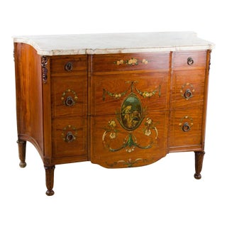 19th C. French Louis XVI Hand Painted Marble Top Chest of Drawers For Sale