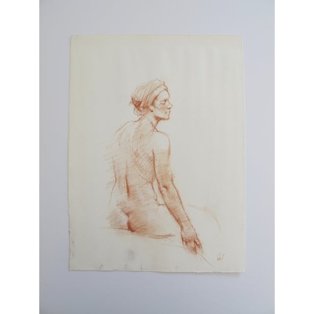 Chalk Figure Drawing of a Nude With Headwrap - Image 2 of 4