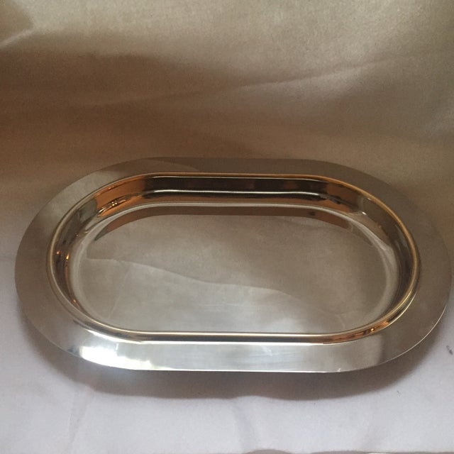 Italian Mid-Century Modern Gold Trim Stainless Steel Tray For Sale - Image 4 of 7