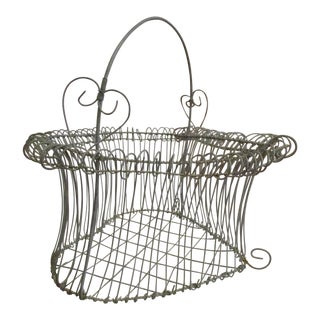 19th Century French Heart Shaped Wire Woven Egg Gathering Basket For Sale