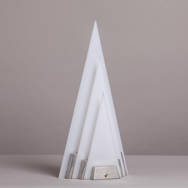 A Single Pyramid Shaped Aluminium and Acrylic Sculptural Table Lamp Late 1970s NB: These items are subject to a further...