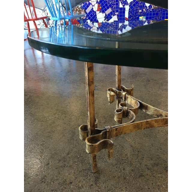 Metal 1950s Brutalist Spanish Gilded Iron Glass Tables - 3 Pieces For Sale - Image 7 of 12