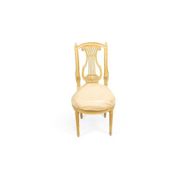 Set of 6 French Louis XVI style (19th Cent) white and gilt lyre back side chairs with white damask upholstery