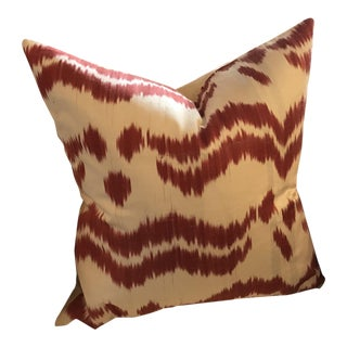 Ikat, Hand-Made Silk Pillow in Red/ Off-White, Made in Uzbekistan For Sale