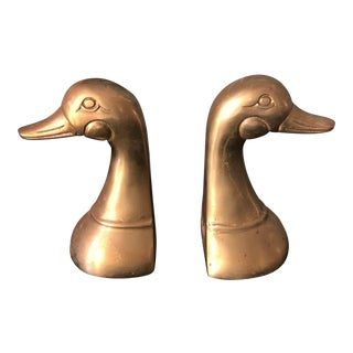 Brass Geese Bookends - a Pair For Sale