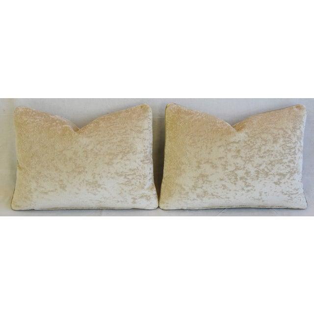 "Green Scottish Hodsoll McKenzie Wool Stripe & Scalamandre Velvet Feather/Down Pillows 22"" X 16"" - Pair For Sale - Image 8 of 12"