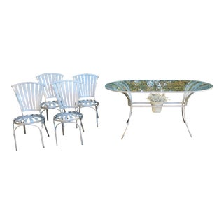 Vintage Metal Francois Carre Starburst Table & Chairs - Set of 4 For Sale