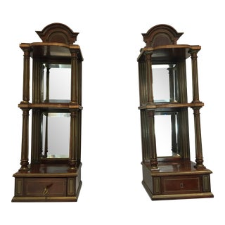 1970s Wooden Wall Shelves With Mirror-A Pair For Sale