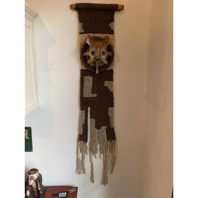 Hand Woven Raw Wool Textile With Cow Vertebrae For Sale - Image 9 of 9