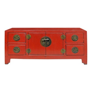 Chinese Oriental Zen Distressed Red Console Sideboard Tv Cabine