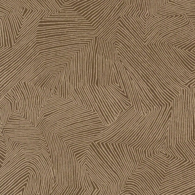 Contemporary Schumacher Labyrinth Metallic Wallpaper in Espresso For Sale - Image 3 of 3