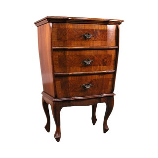 1950's Italian Walnut 3 Drawer Chest Nightstand For Sale