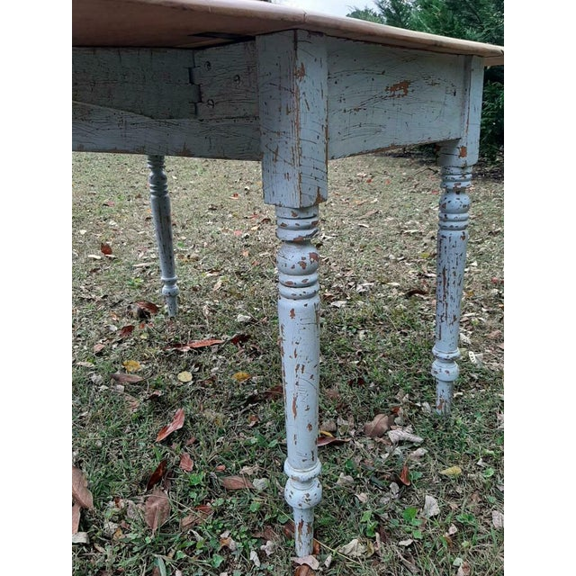 Wood 1800's Antique Pine Wood Drop Leaf Farmhouse Painted Distressed Table With Drawer For Sale - Image 7 of 13