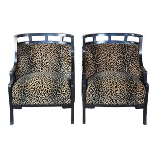 2 Wallis Simpson Cheetah Barrel Club Lounge Chairs Jay Spectre for Century MCM For Sale